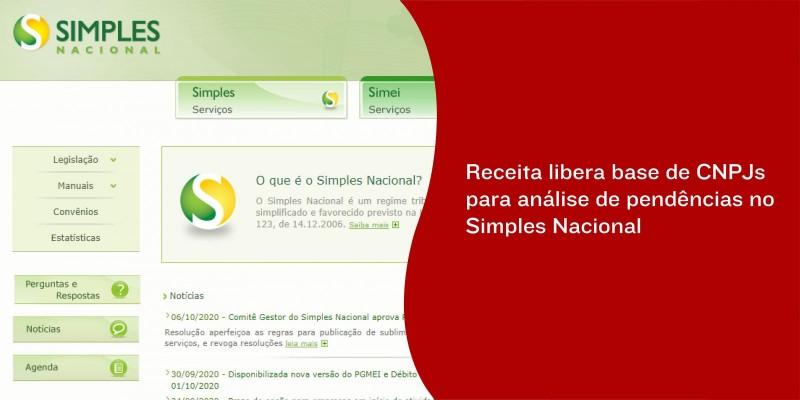 Receita libera base de CNPJs para análise de pendências no Simples Nacional