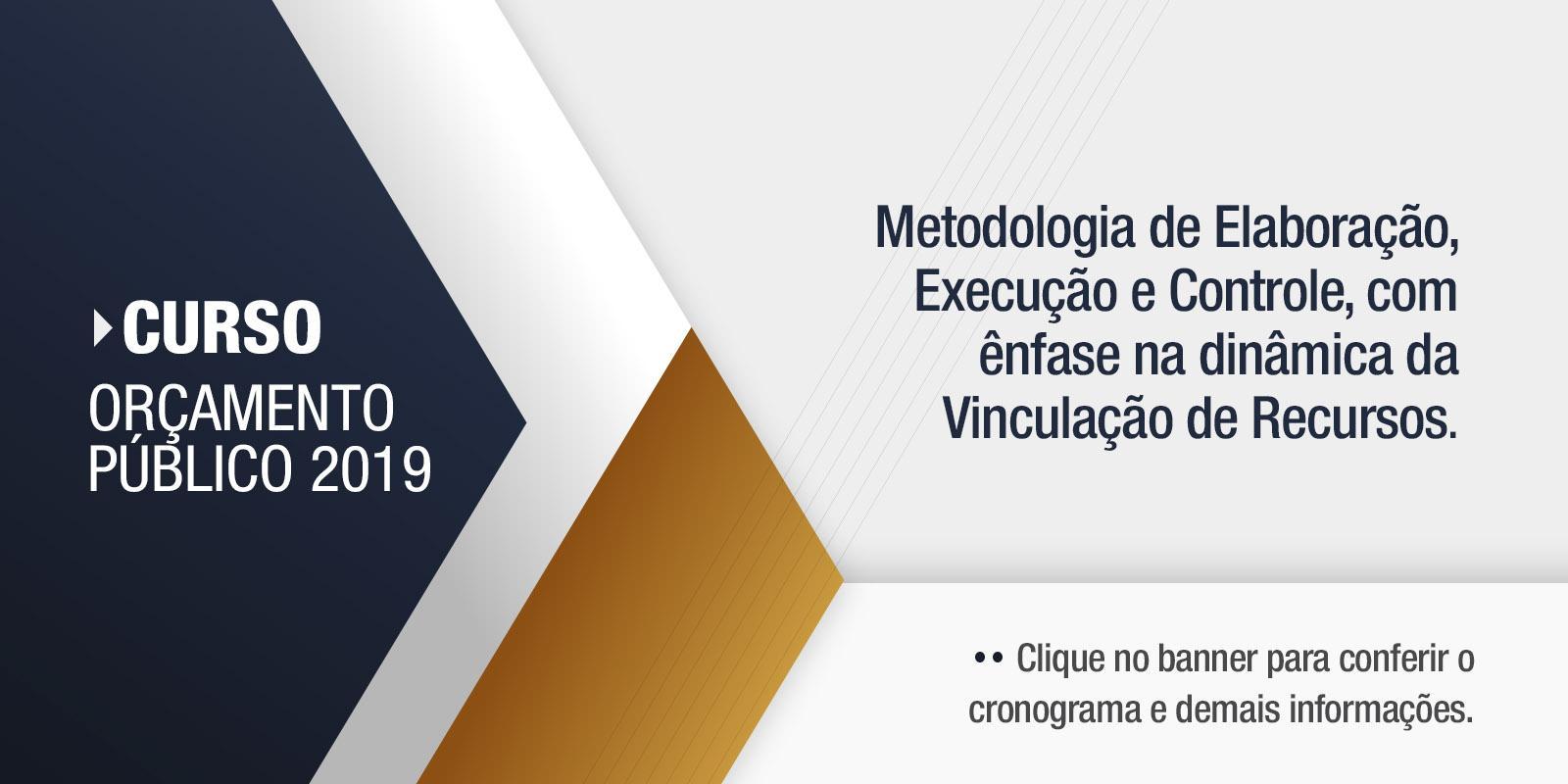 CURSO ORÇAMENTO PÚBLICO 2019: Metodologia de Elaboração, Execução e Controle, com ênfase na dinâmica da Vinculação de Recursos.