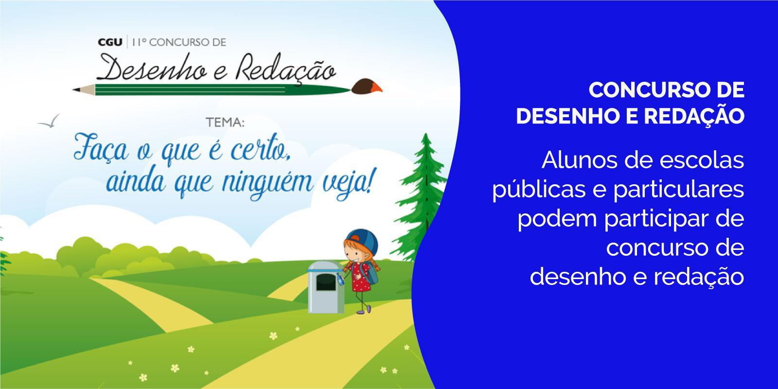 Alunos de escolas públicas e particulares podem participar de concurso de desenho e redação