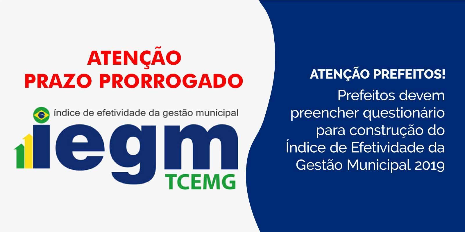 Envio dos questionários do IEGM tem prazo prorrogado