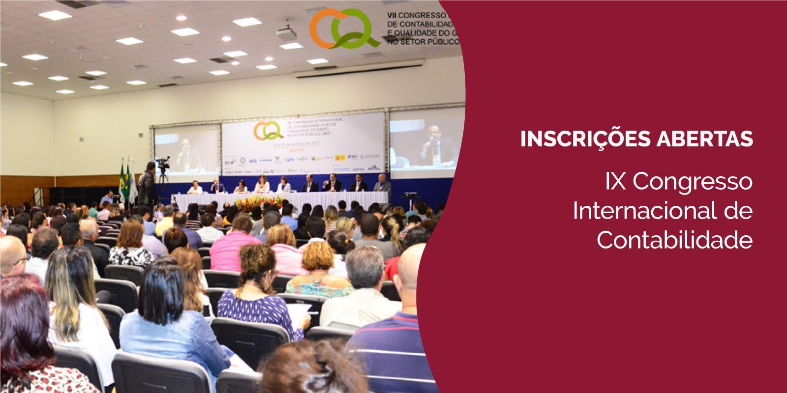 Inscrições para o IX Congresso Internacional de Contabilidade e Custos estão abertas